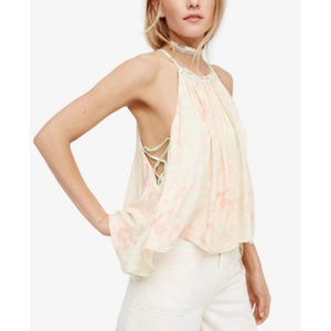 Free People Season in the Sun Printed Lace-Up Top